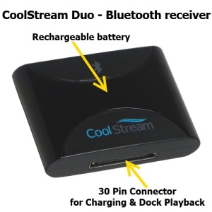 CoolStream Duo Bluetooth receiver has a rechargeable battery that can be recharged with any iPod charging cable.