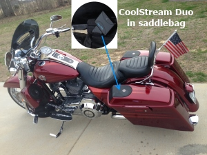 CoolStream Duo in Harley Saddlebag