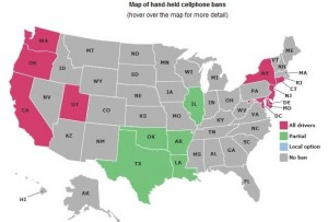 Map of Cell phone laws