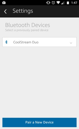 CoolStream Duo Paired with Echo Dot
