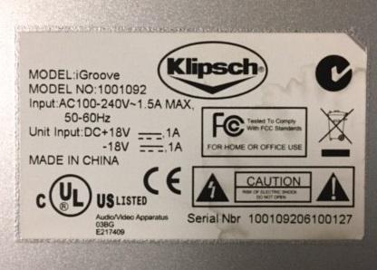 Klipsch iGroove Model 1001092