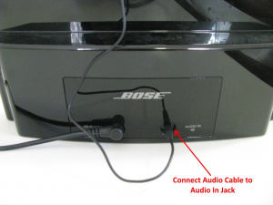 The CoolStream Duo uses the Aux input on the back of the Bose Sounddock 3
