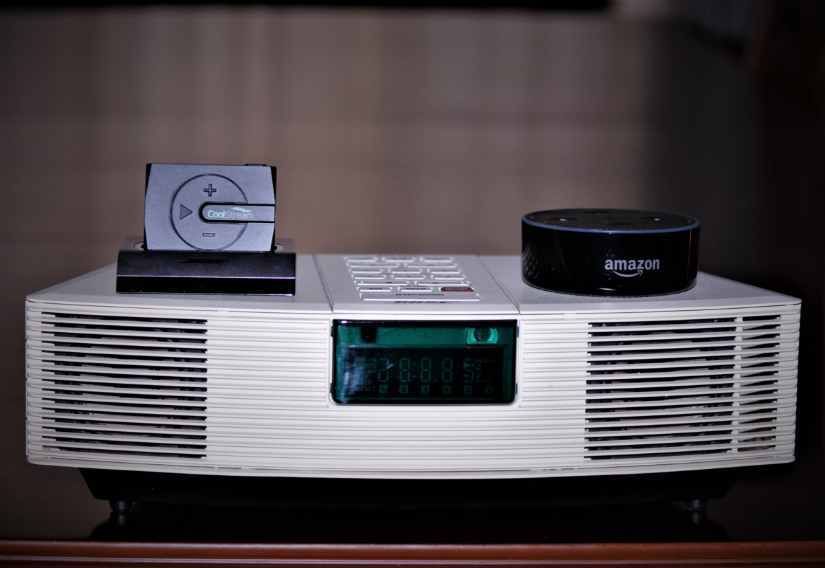 The CoolStream BOOM! shown with Bose Wave Radio and Amazon Echo Dot