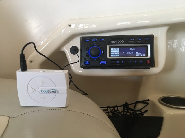 Kenwood Marine Stereo attached to CoolStream BOOM!