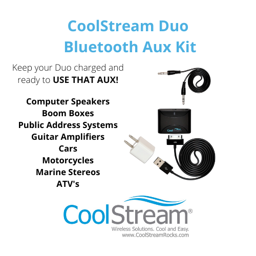 All the pieces needed to keep your Duo ready to use with an Aux enabled stereo.
