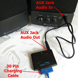 The CoolStream Duo can be connected to any Stereo AUX-In port using the dual-tipped included cable while charging at the same time.