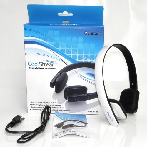 CoolStream Bluetooth Headphones with accessories